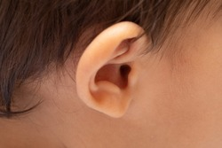 A closeup view on the outer ear and auditory canal of an infant.