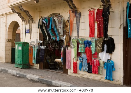 A clothes shop in a back street in Cairo Egypt
