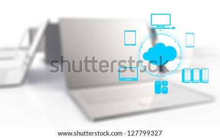 a Cloud Computing diagram on the new computer interface as concept