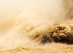 A cloud of dust from cars on nature as a background