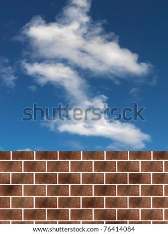A  cloudy blue sky over a brick wall