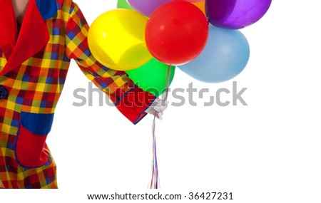 A clown holding balloons on a white background with copy space