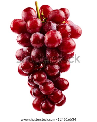 A cluster of red grapes isolated on white background