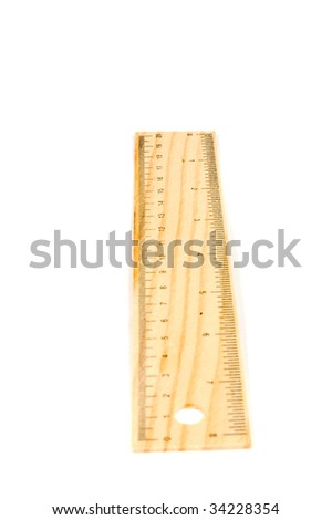 A 20 cm wooden ruler, isolated on a white background.Flip it over for a 8 inch ruler (clearpoint at 20 cm)