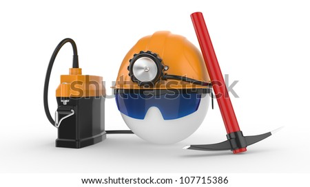 A coal miner. Worker in glasses with helmet, lamp, and pickax. 3D illustration