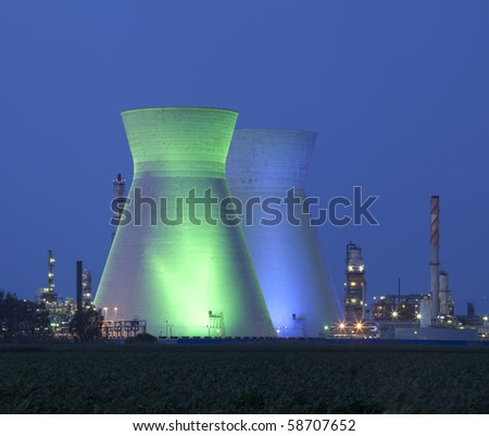 A coal power station and night blue sky - Oil Refineries