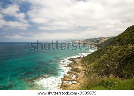 A coastal scene, captured from the Great Ocean Road, Southern Victoria, Australia - stock photo