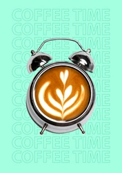A coffee break. Time for cappucino, americano, latte or espresso. A clock or alarm filled with hot drink and white milk foam on blue background. Negative space. Modern design. Contemporary art collage
