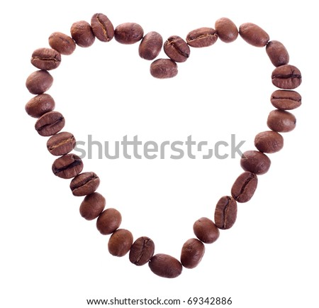 Photo of a coffee in the shape of heart isolated on white