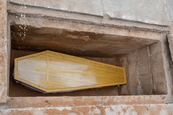 A coffin is a funerary box used for viewing or keeping a corpse, either for burial or cremation.