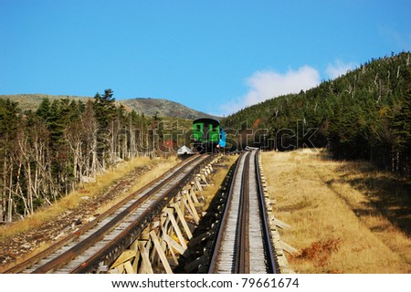 A Cog Trains in White Mountain in fall, New Hampshire, USA