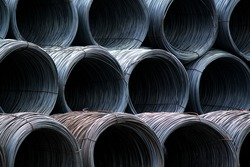 A coil of steel wire bunch in warehouse