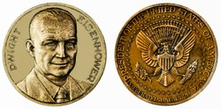 A coin commemorating featuring a portrait of Dwight D. Eisenhower. 34th President of the United States 1953-1961. Commemorative Coin.