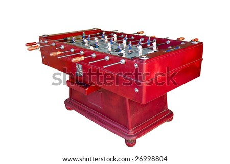 A coin-operated Catalan football table isolated on white