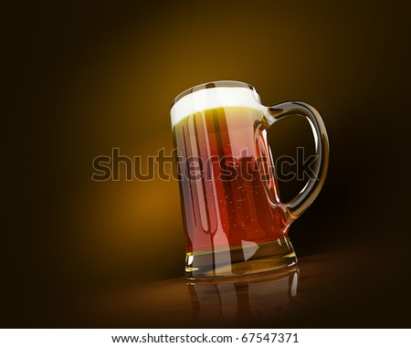 A cold mug of beer with froth