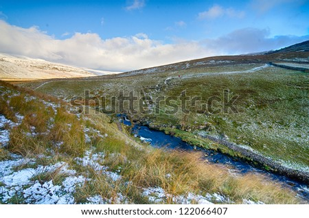 A cold outlook at Ingleton Falls Moorland