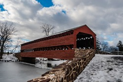 A Cold Winter Day at Sachs Covered Bridge, Adams County, Pennsylvania, USA