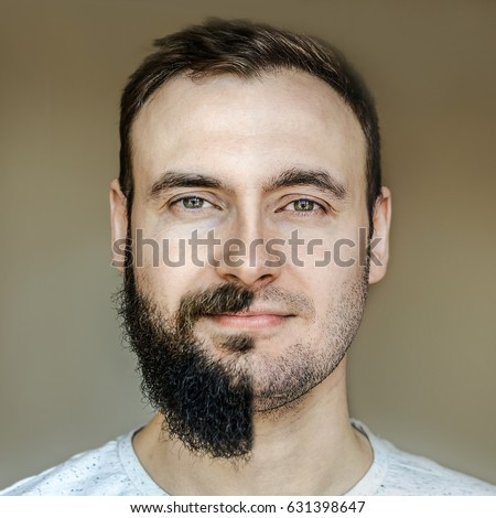 A collage of a beautiful portrait of a man with a full beard and no beard after shaving with light stubble. Barber working on a brown background.