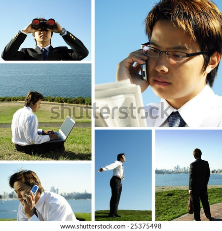 A collage of an asian businessman working outdoor