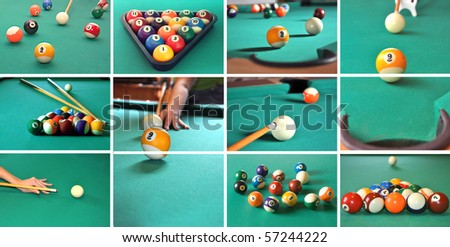 A collage of billiard items, balls, sticks, table, game concept.