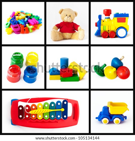 A collage of children toys