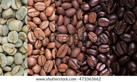 A collage of coffee beans showing various stages of roasting from raw through to Italian roast