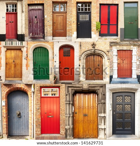 A Collage Of 15 Different European Front Entrance Doors