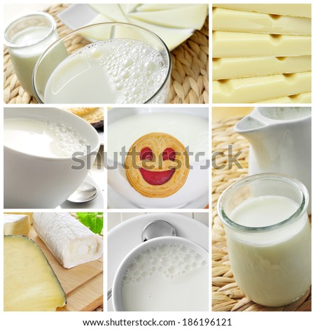 a collage of different pictures of different dairy products, such as milk, yogurt or cheese