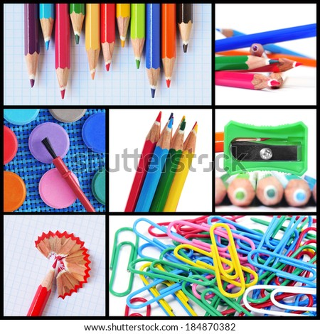 a collage of different pictures of some school supplies such as colored pencils, pencil sharpener or paper clips