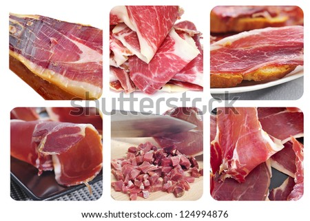 a collage of different pictures of spansih serrano ham - stock photo
