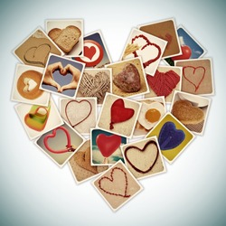 a collage of different snapshots of hearts and heart-shaped things, forming a heart, with a retro effect