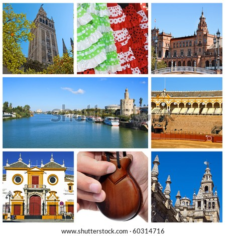 a collage of eight pictures of different scenes of Seville, Spain