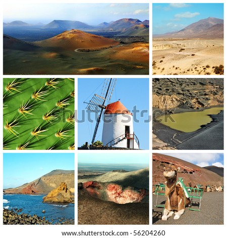 a collage of eight pictures of different views of Lanzarote, Spain