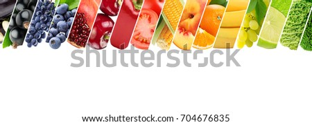 A collage of fresh, colorful fruits on a white background . Healthy food concept - Shutterstock ID 704676835