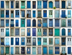 A collage of greek doors all in blue tonality