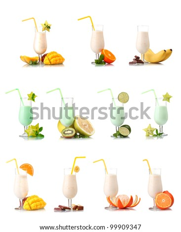 a collage of milkshakes with fruits isolated on white