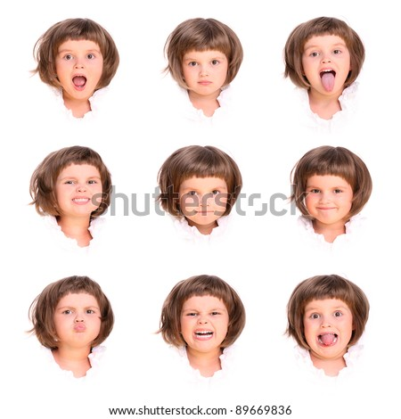 A collage of nine faces of a four year old girl over white background