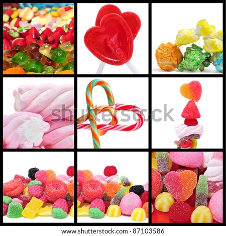 a collage of nine pictures of different candies