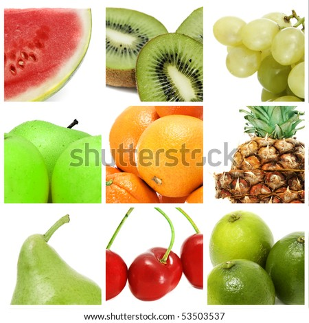 a collage of nine pictures of different fruits