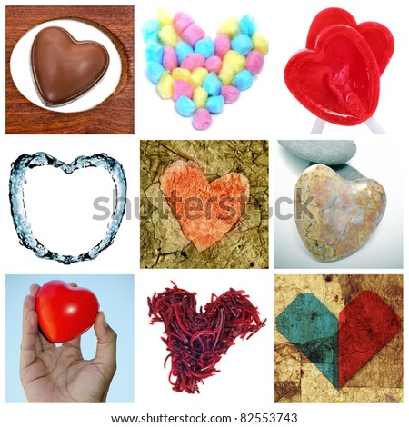 a collage of nine pictures of different heart-shaped items