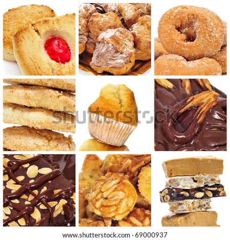 a collage of nine pictures of different kind of biscuits, sweets and pastries