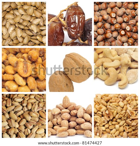 a collage of nine pictures of different nuts