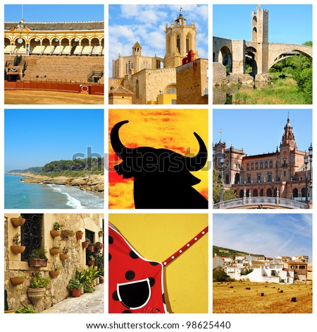 a collage of nine pictures of different scenes of Spain