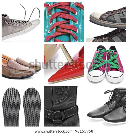 a collage of nine pictures of different shoes and sneakers