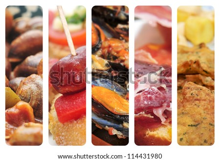 a collage of nine pictures of different spanish tapas and dishes, as escargots, sausage and pepper pintxos, mejillones in marinara sauce, serrano ham and cod fritters