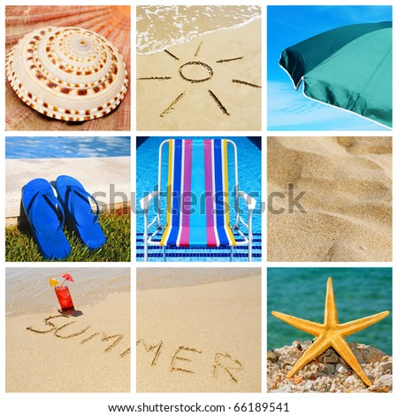 a collage of nine pictures of many beach items and scenes