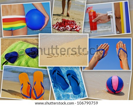 a collage of nine pictures of many beach items and scenes in the summer - stock photo