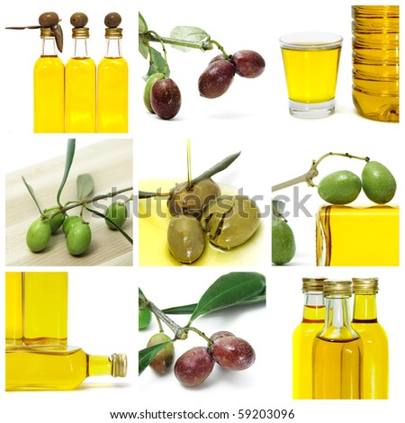 a collage of nine pictures of many olives and olive oil bottles