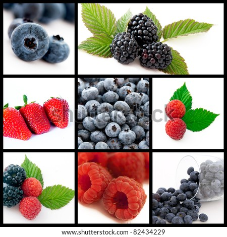 A collage of photos about berries fruits