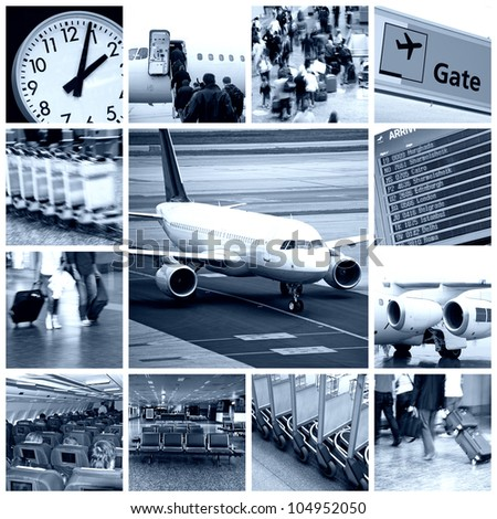 A collage of photos about business travel in airplane